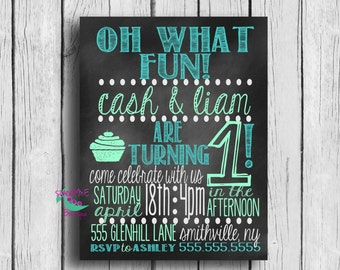 Customized Twin Birthday Party invitation, DIGITAL IMAGE, 1st Birthday invitation, boy twins, girl twins, boy girl twins, birthday invite