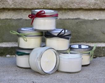ONE DOZEN – Small 4oz Jar Soy Candle | Pick 12 | Mason Jar Candle | Hand Poured | Aromatherapy | Seasonal | Mix & Match | Gift Set