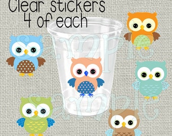 24 boy owls baby shower stickers Decorations Birthday Party stickers Party stickers Party cup stickers decals favors DIY or Precut owls