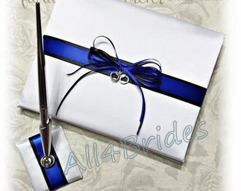 Wedding guest book, police wedding thin blue line with handcuff charm.  Police wedding decorations.