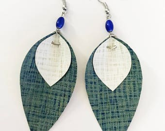 Recycled Vinyl Leaf Earrings - Blue and White