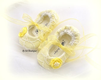 Baby Girl Shoes,New Born Shoes,Yellow Baby Shoes,Ballet Slippers,Toddler Shoes,Christening Shoes,Birthday,Lace Baby Shoes,Mother to Be Gift