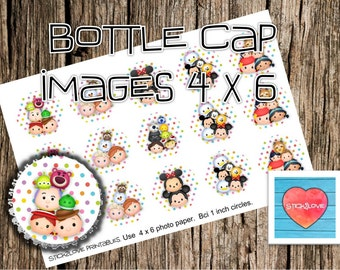 "Tsum tsum polka color printables  4x6 - 1"" circles, bottle cap images, stickers"