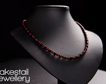 Onyx & Red Glass Pearl Necklace