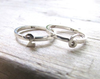 number rings number jewelry stacking rings sterling silver rings custom rings number jewelry digit jewelry