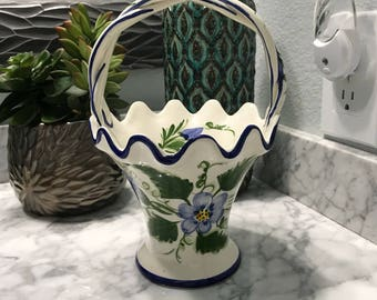 Vintage Portugal Ceramic Basket with Braided Handles, Made in Portugal RCCL 90 Hand Painted Floral Design, Item #573371921