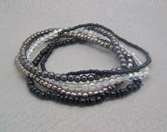 Stack Bracelet, Stackable Black Bracelets, Set of 5, Stack Bead Bracelet, Layering Bracelets, Stacking Bracelets, Glass Crystal Beads