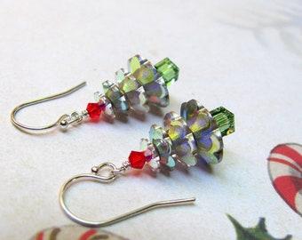 Christmas Tree Earrings, Holiday Earrings, Swarovski Earrings, Christmas Jewelry, Red Earrings, Green Earrings, Dangle Earrings, Christmas