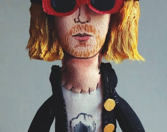 Kurt Cobain, Nirvana, figure artist music, art doll, original art - figurative art - collectible doll