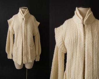 vintage 1970s sweater / 70s cream wool mohair cardigan / Leia Sweater