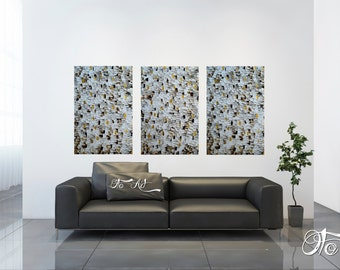 Abstract Painting Large 72X36 Three panel triptych white gold brown Texture Art oil canvas acrylic contemporary OTO