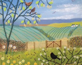 Canvas print of English countryside in spring with blackbirds from an original mixed media painting 'Thoughts of Spring' by Jo Grundy