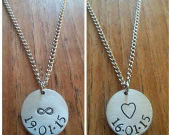 Customised Personalised Anniversary/Birthday Date Heart/Infinity Circular Pendant Necklace~Silver Handmade Stamped Jewellery Jewelry Gift