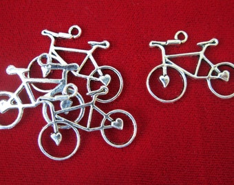 """10pc """"bike"""" charms antique style silver (BC47)"""
