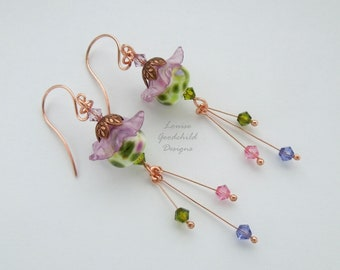 Flower earrings, cottage garden, copper earrings, spring flowers, crystal earrings, flower garden, mothers day, gift for her, nature, flower