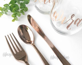Rose Gold Cutlery | Premium Plastic Cutlery | Rose Gold Party Decor | Rose Gold Flatware | Rose Gold Wedding Utensils | Fork Spoon Knife