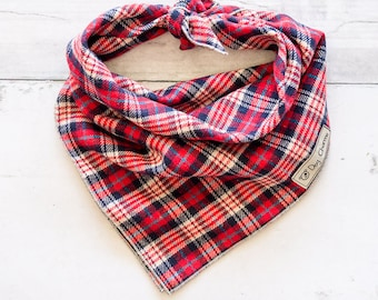 Red White and Blue Plaid Dog Bandana, Dog Bandana, 4th of July Dog Bandana,