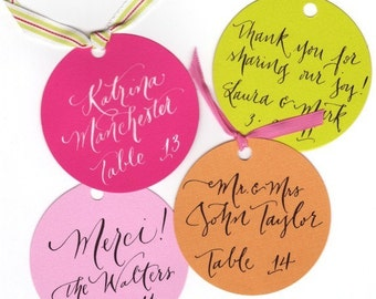 place card or round favor tags calligraphy for wedding or shower