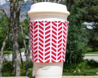 FREE SHIPPING UPGRADE with minimum -  Fabric coffee cozy / cup sleeve / coffee sleeve / cup cozy / Red White Graphic Feathers