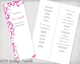 """A4 Wedding order of service template Begonia Pink """"Scroll"""" DIY printable booklet fuchsia program template long Catholic service download"""
