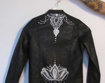 The Little Lotus - hand-painted faux leather kids jacket