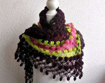 Triangle, Shawl, Neckwarmer, Scarf,  in Purple, Green, Pink, Trendy, Gift, Spring, Mothers day