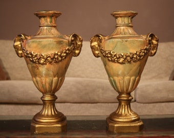 Pair of very fine gilded French urns