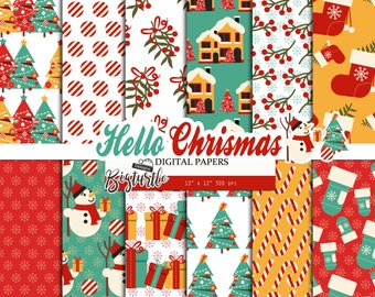 60% OFF SALE! Hello  Christmas Digital Paper pack, Snow digital paper, winter digital paper, Scrapbook Paper, Printable Background, 12 JPG.