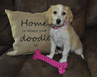 Home is where your doodle is Burlap Pillow