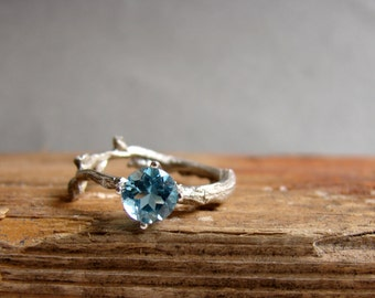 Swiss Blue Topaz Twig Ring Alternative Engagement Ring Sterling Silver Botanical Ring December Birthstone