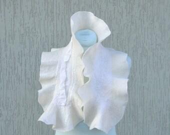 White nuno felted scarf Silk felt scarf wool scarf