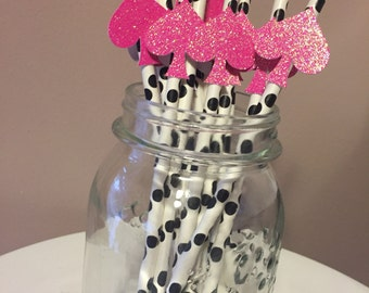 Hot Pink Glitter Kate Spade Polka Dot Paper Straws