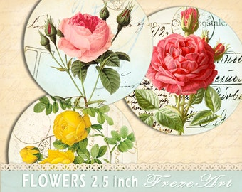 Vintage flowers Pocket Mirror circles 2.5 inch on Digital Collage Sheet Instant Download For gift tags, jar labels - FLOWERS