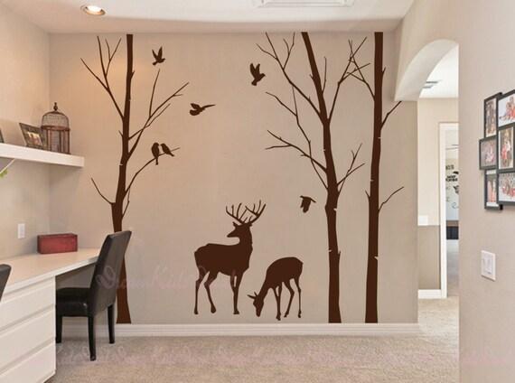 Wandtattoo Hirsch birke bäume aufkleber wandtattoo hirsch natur wandtattoo