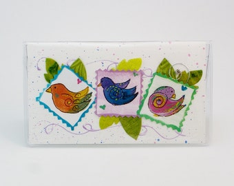Birds Checkbook Cover Debit Receipt Holder Made in the USA