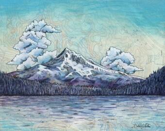 Mt Hood in Winter from Lost Lake, Mount Hood Archival print Mountain illustration, Oregon mountain print, mountain art sunset wilderness art