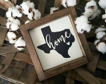 Texas. State Sign. Home State. Mini Framed Sign. Framed Sign.Gallery Wall. Home. Rustic Framed Sign.Farmhouse Style. Shelf Sitter.