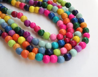 Rainbow wood beads round bright colorful eco-friendly Cheesewood 6mm full strand 9696NB