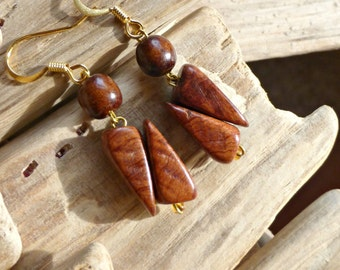 Mahogany eco wood earrings , Geometric wood jewelry , Brown dangle wooden earrings