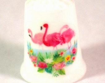 Collectible Thimbles, China Thimble, Handmade Thimble, Thimble Collection, Flamingo Thimble