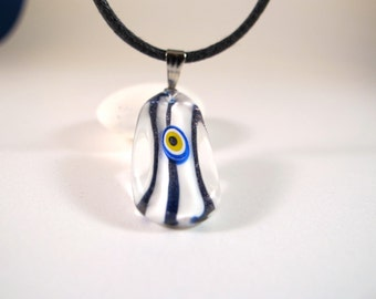 White Twisted & Striped Diamond Evil Eye Pendant Necklace