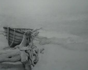 Fogged Out print of original pencil drawing