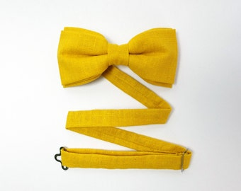 Yellow Bow Tie for Men Linen Bow Tie Wedding Bow Tie for Groomsmen Dandelion Bow Tie Mens Bow Tie Womens Bow Tie