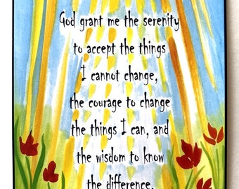 God Grant Me 5x7 SERENITY PRAYER Inspirational Quote Motivational AA Recovery Sobriety Eating Disorder Heartful Art by Raphaella Vaisseau
