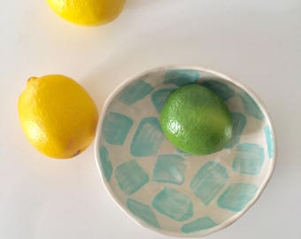 Turquoise pinch pot bowl, handformed stoneware ceramic bowl with bold turquoise pattern