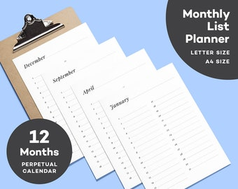 Folio Monthly List Calendar - 12 Months - Upcoming Events - Letter Size - A4 Planner - Perpetual Calendar - Entire Year - Event Planner