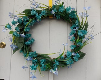 "Large Spring/Summer Blue Blossom and Spring Floral Wreath 16"" (41cm)"