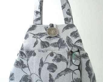 shoulder tote, fabric tote bag, gray handbag, grey purse, tote handbag, shoulder bag, convertible purse, tote with pockets