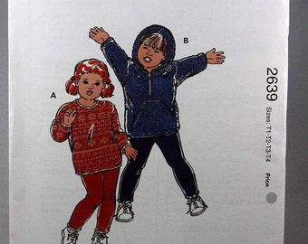 Kwik Sew 2639, Toddler's Tops and Leggings Sewing Pattern, Sewing Pattern, Toddlers' Patterns, Toddlers' Sizes T1, T2, T3, T4, Uncut