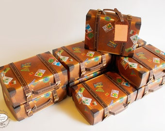 BULK DEAL Set of 10 Travel Suitcase Boxes: Physical Item, Gift Box Brown Trunk design | Pre-cut No Sticking | Wedding Favor, Christmas Gift